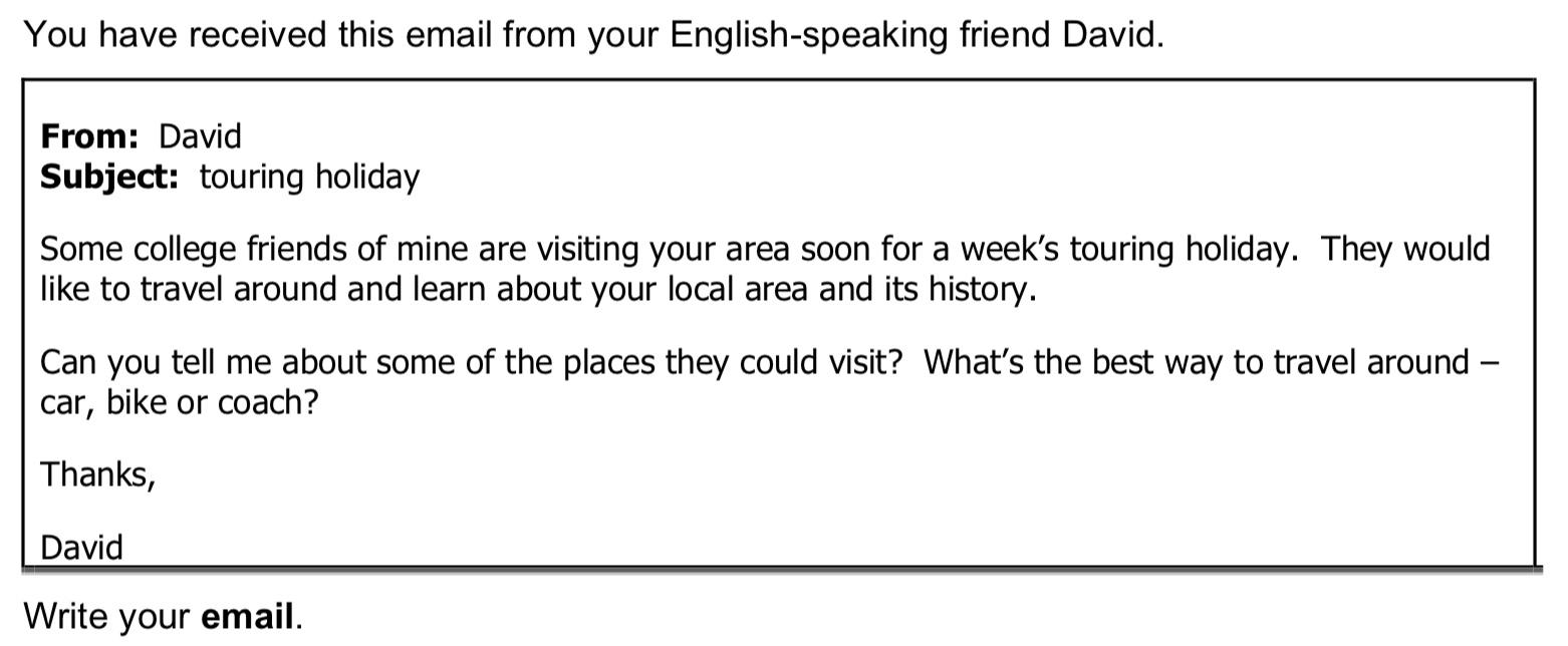 ejemplo de instrucciones de email de B2 first (fce) writing