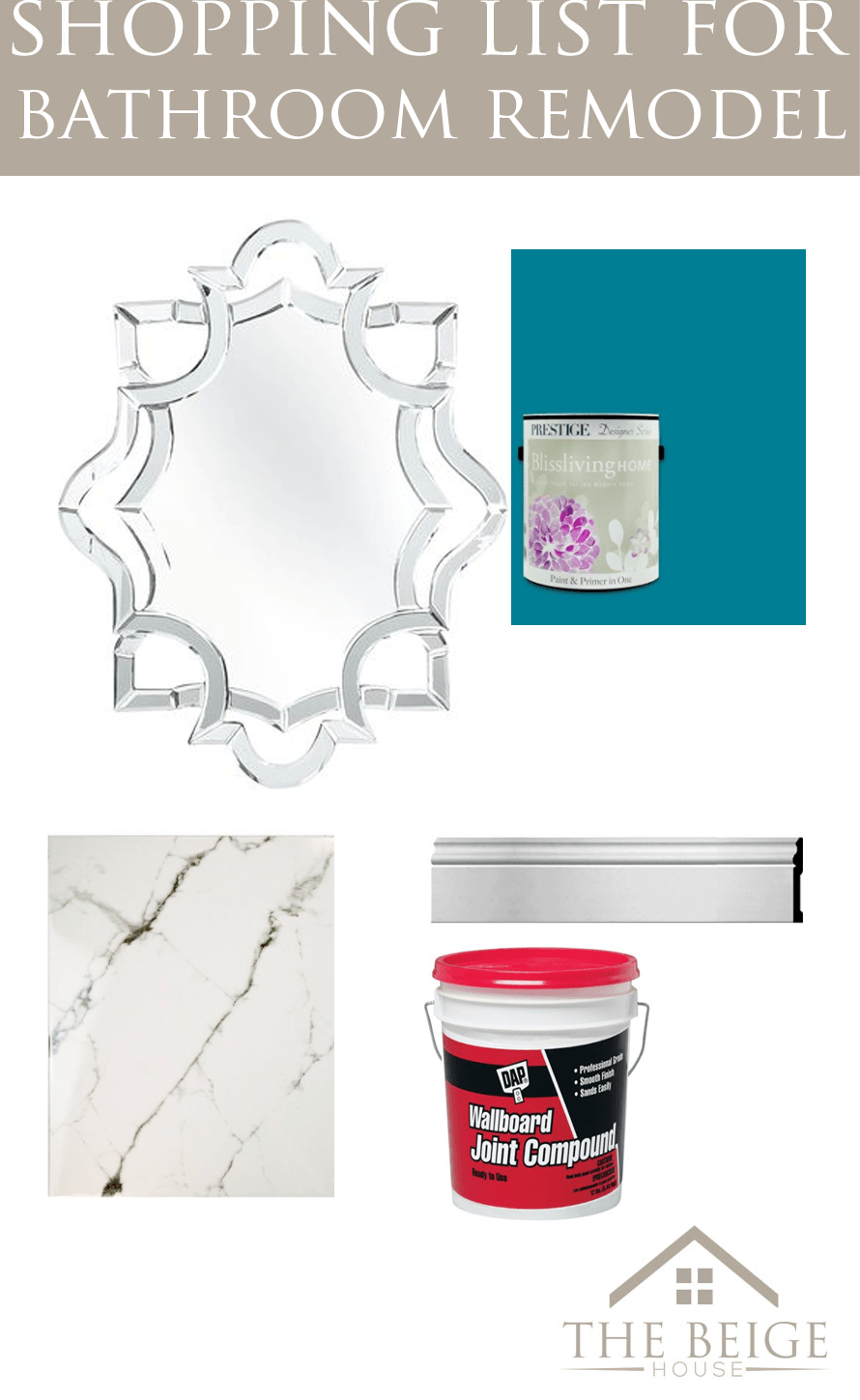 Shopping list for my upstairs bathroom remodel