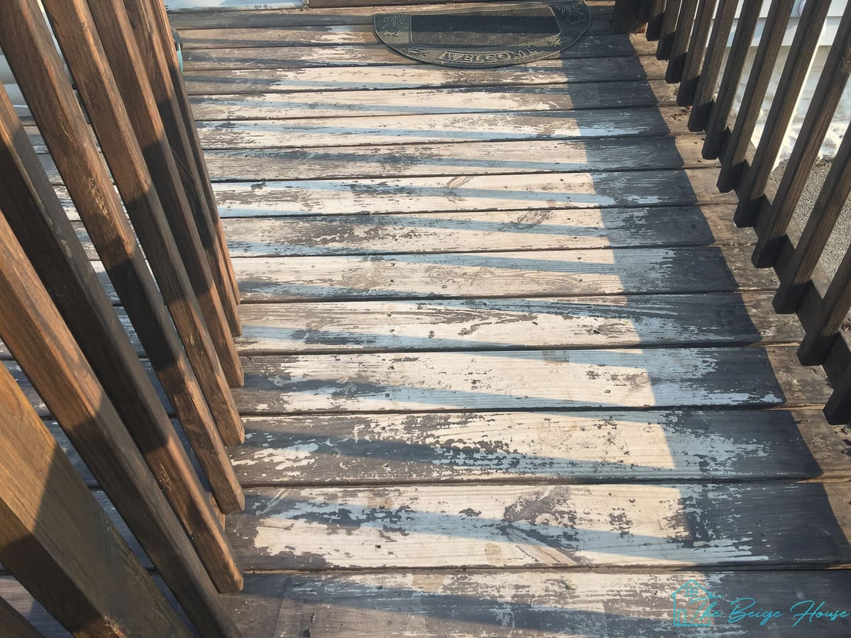 before Painting Our Deck blue-gray