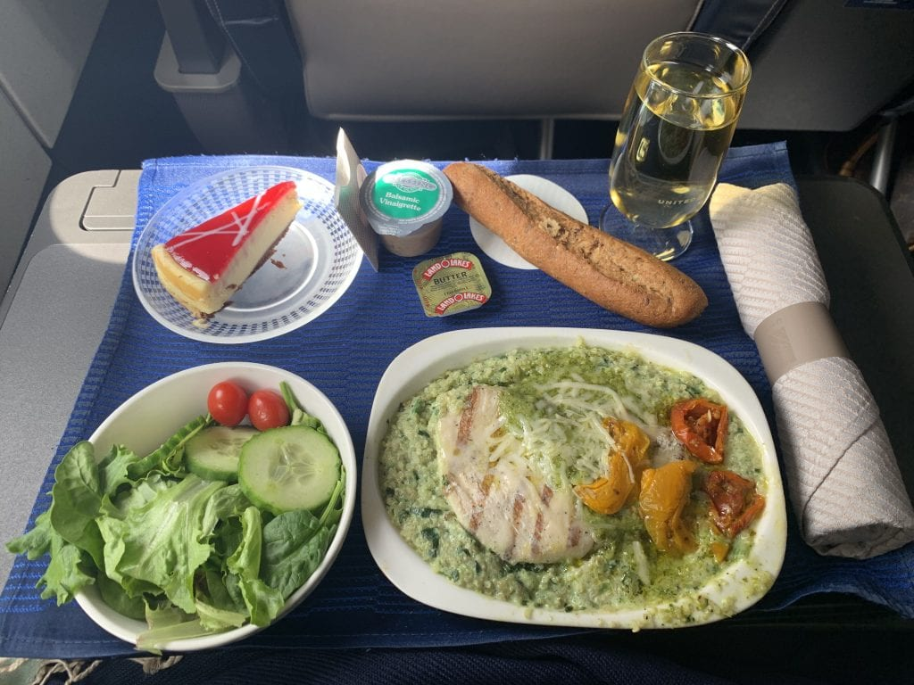 Palm Springs diary, first-class meal on United
