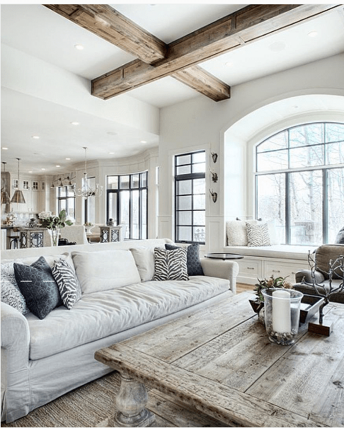 White living room with rustic decor accents