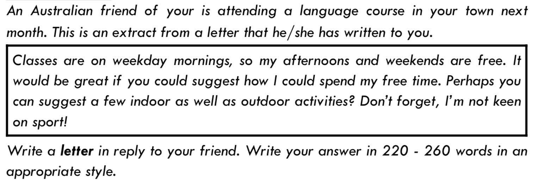 ejemplo de instrucciones de email de c1 advanced (CAE) writing
