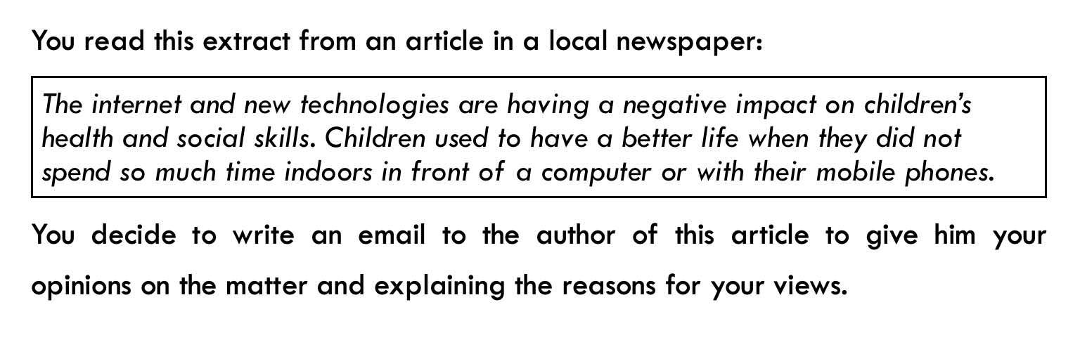 ejemplo de instrucciones de email formal de c1 advanced (CAE) writing