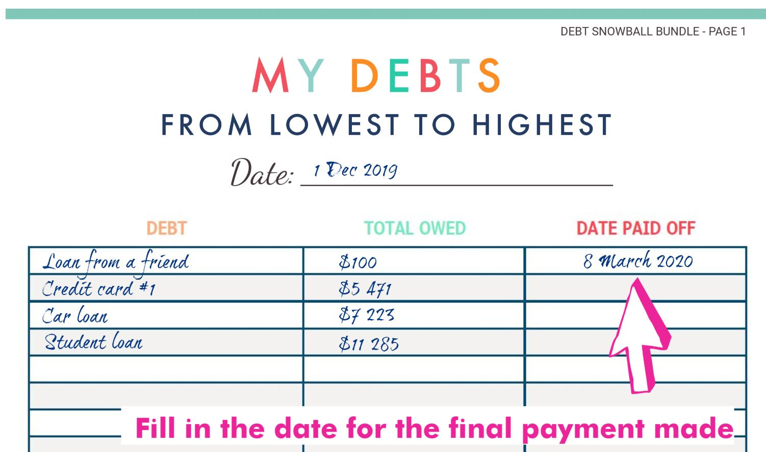 Debt paid off date tracker for debt snowball method