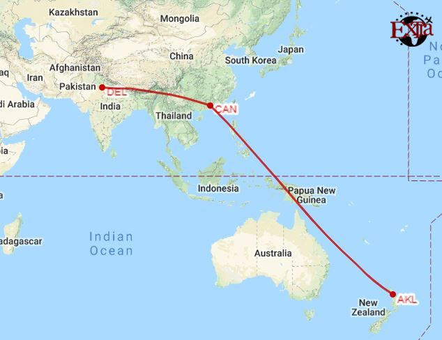 Delhi to Auckland Map