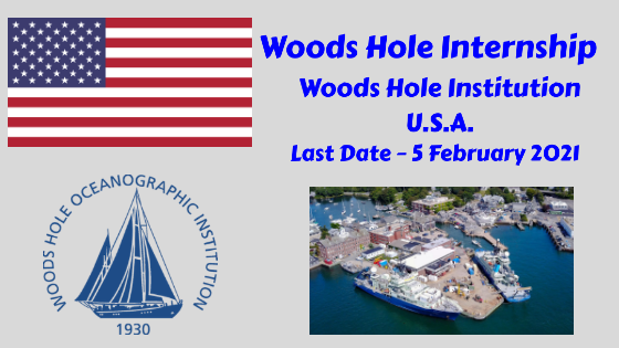 Woods Hole Internship at Woods Hole Oceanographic Institution, U.S.A.