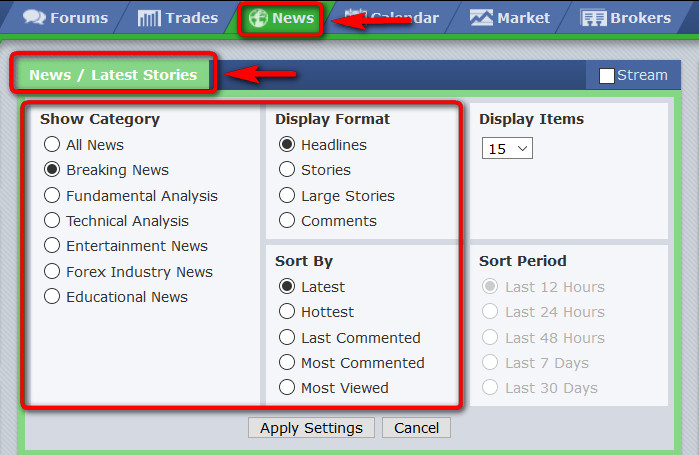 forex factory news settings