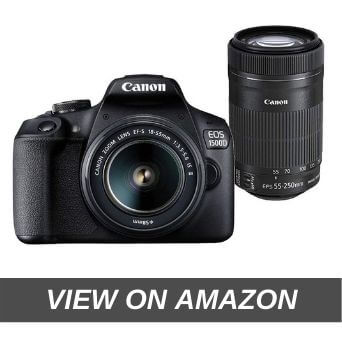 Canon EOS 1500D 24.1MP Digital SLR Camera (Black) with 18-55 and 55-250mm is II Lens, 16GB Card and Carry Case