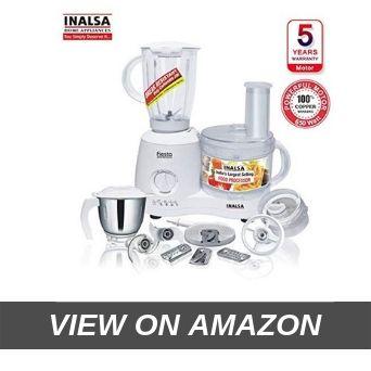Inalsa Food Processor Fiesta 650-Watt with Break Resistant Processing Bowl, Blender, Dry Grinding Jar, 8 Accessories (White Grey)