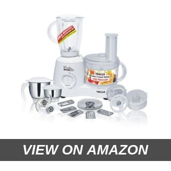 Inalsa Food Processor Wonder Maxie Plus V2 700 - Watt with Blender Jar, Dry Grinding Jar, Chutney Jar
