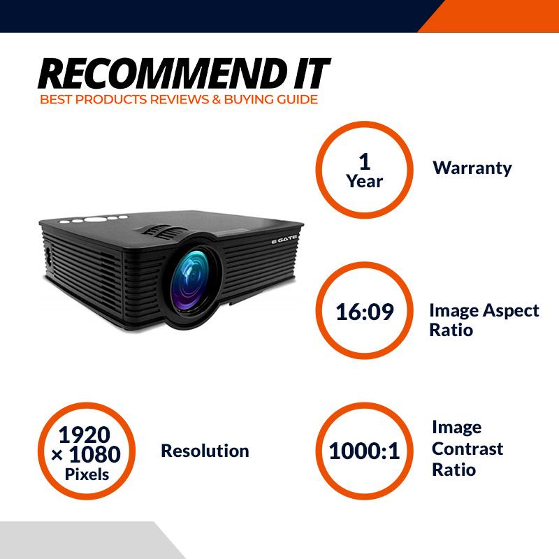 EGATE i9 MIRACAST LED HD PROJECTOR - HD 1920 X 1080 – HDMI – USB - VGA – 120 DISPLAY