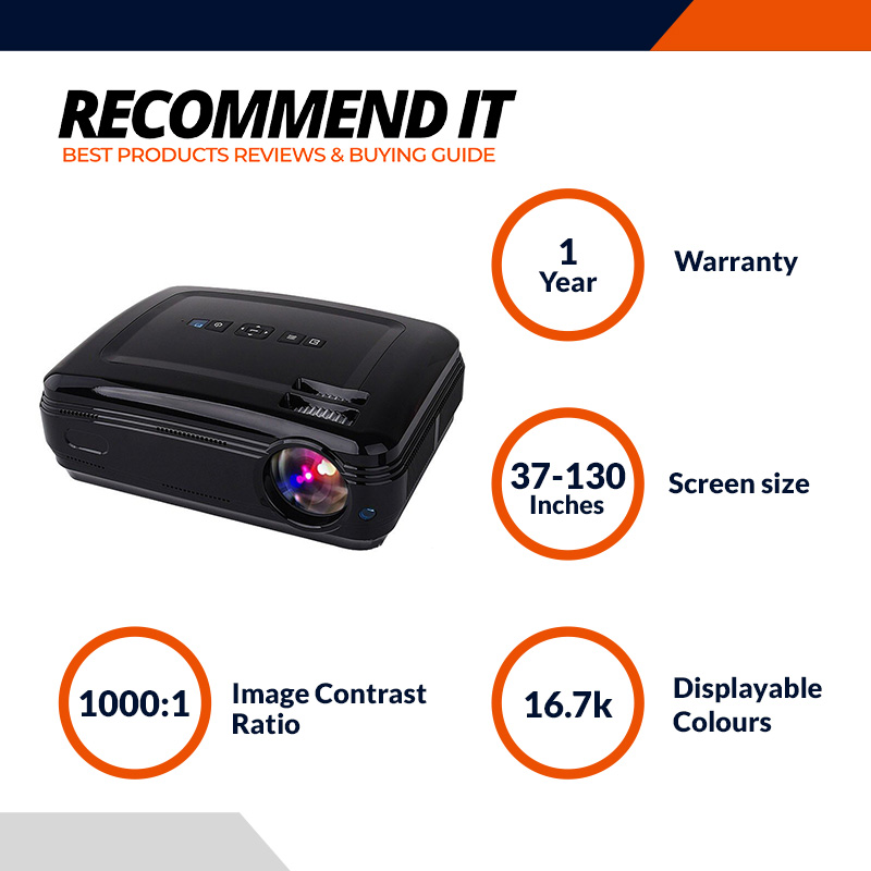 Myra® TouYinGer X7 Led Projector 1800 Lumens, 800 600 HDMI USB VGA TV Home Cinema, Support Red _ Blue 3D Format