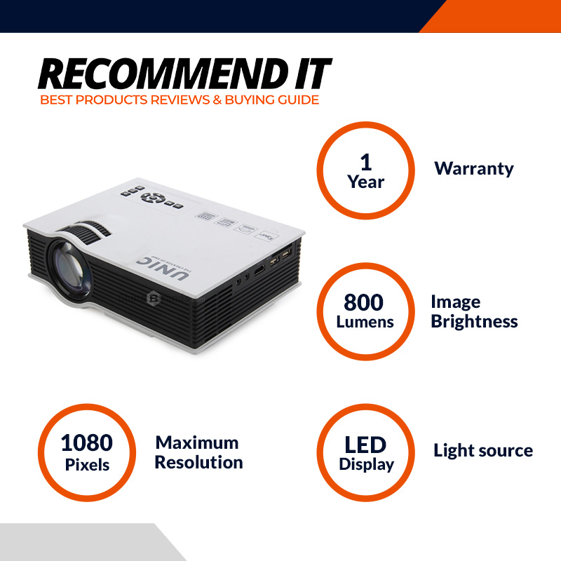 Unic UC40 Has HDMI, AV, USB Ports Projector (800X480 High Resolution)