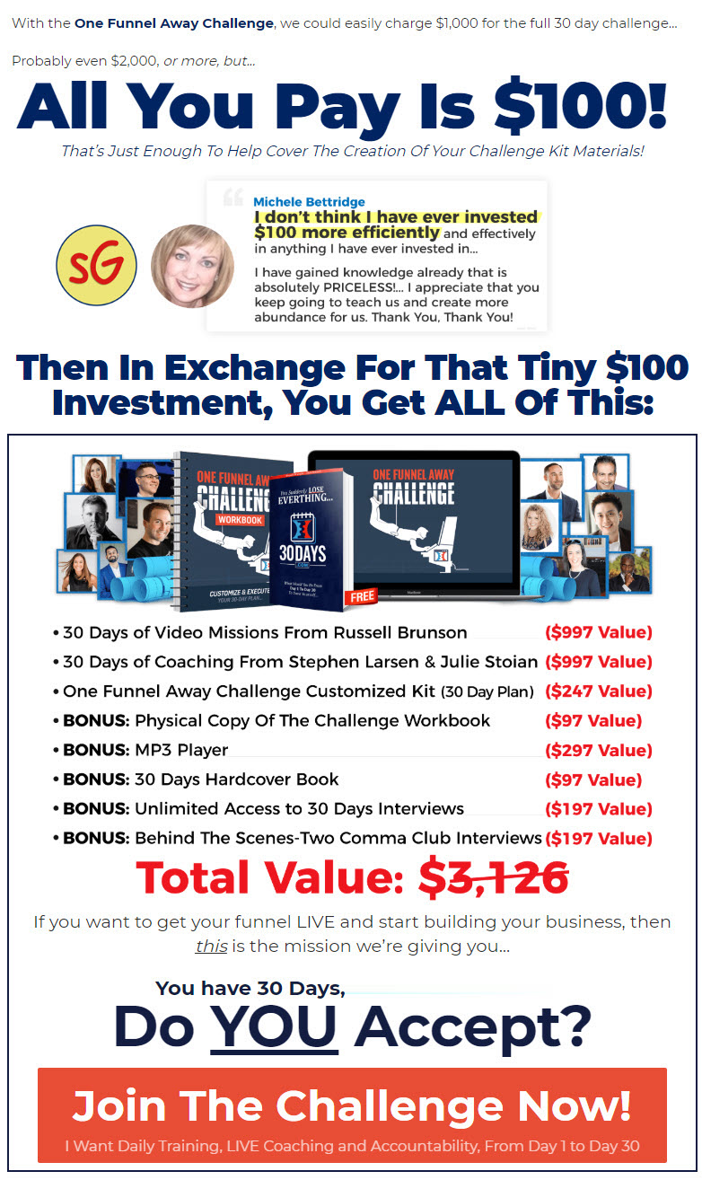 The one funnel away challenge package bonuses