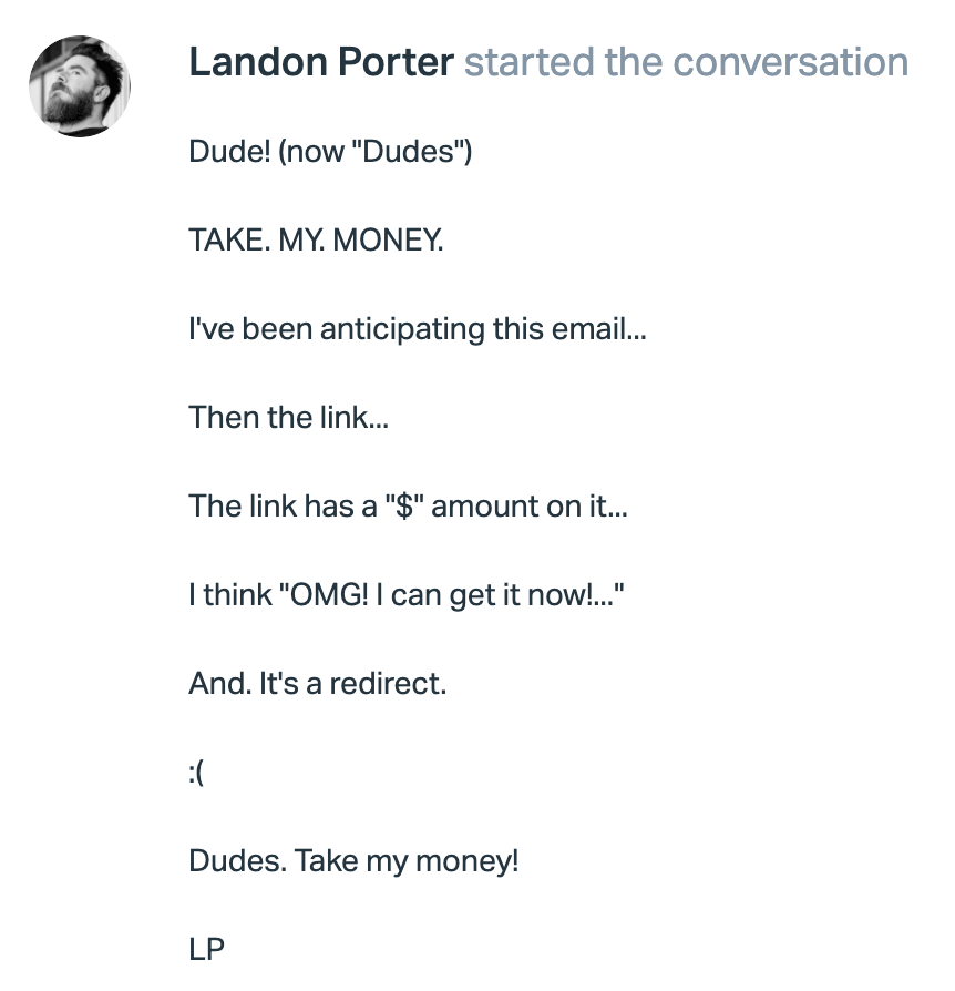 Email from Landon Porter