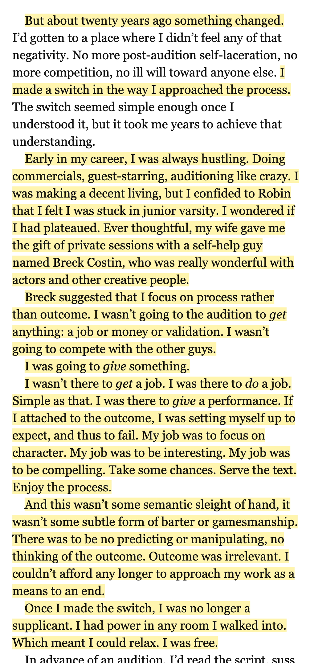 Excerpt from A Life in Parts (by Bryan Cranston) | Process vs. Outcome