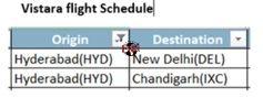 Vistara Flight Schedule Hyd