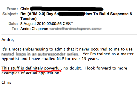 Autoresponder Madness2 customer testimonial screenshot - Chris.