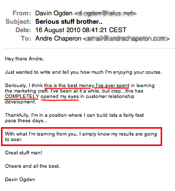 Autoresponder Madness 2 customer testimonial - David Ogden.
