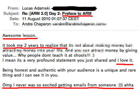 Autoresponder Madness 2 customer testimonial screenshot - Lucas Adamski.