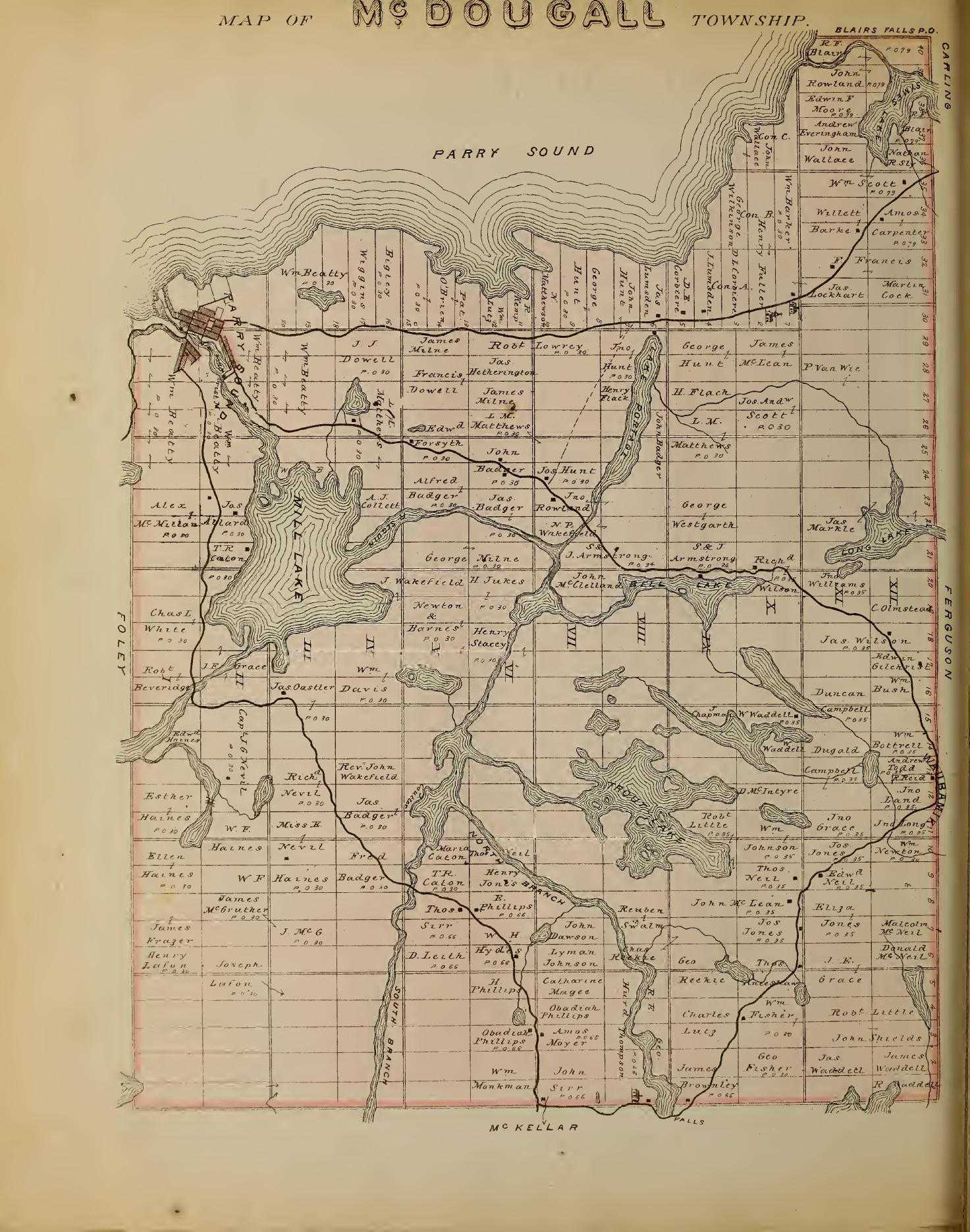 Map taken from Guide Book & Atlas Of Muskoka And Parry Sound Districts
