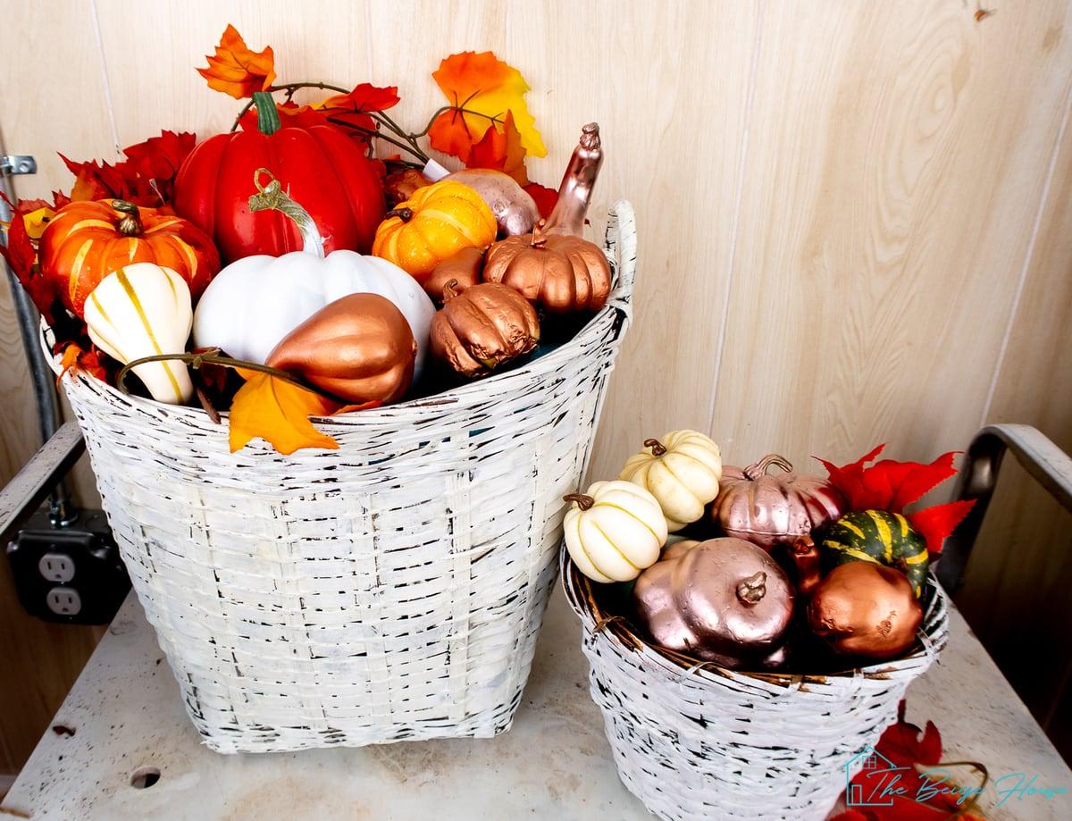 DIY Pumpkin Harvest Basket Displays