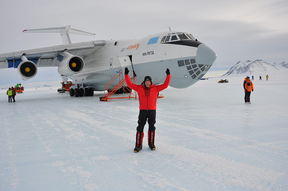 Scott Kress standing on blue ice runway at Union Glacier Antarctica. Photo | Katrina Follows