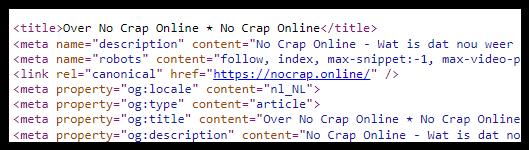 Canonical Tag in de broncode van een pagina