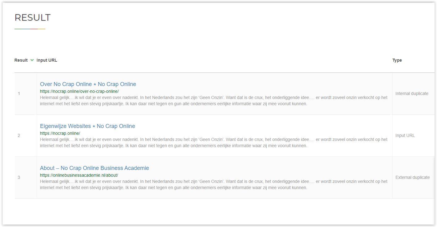 Eigen site checken voor duplicate content