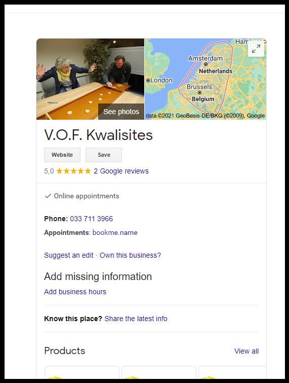 Google Reviews voor Kwalisites.