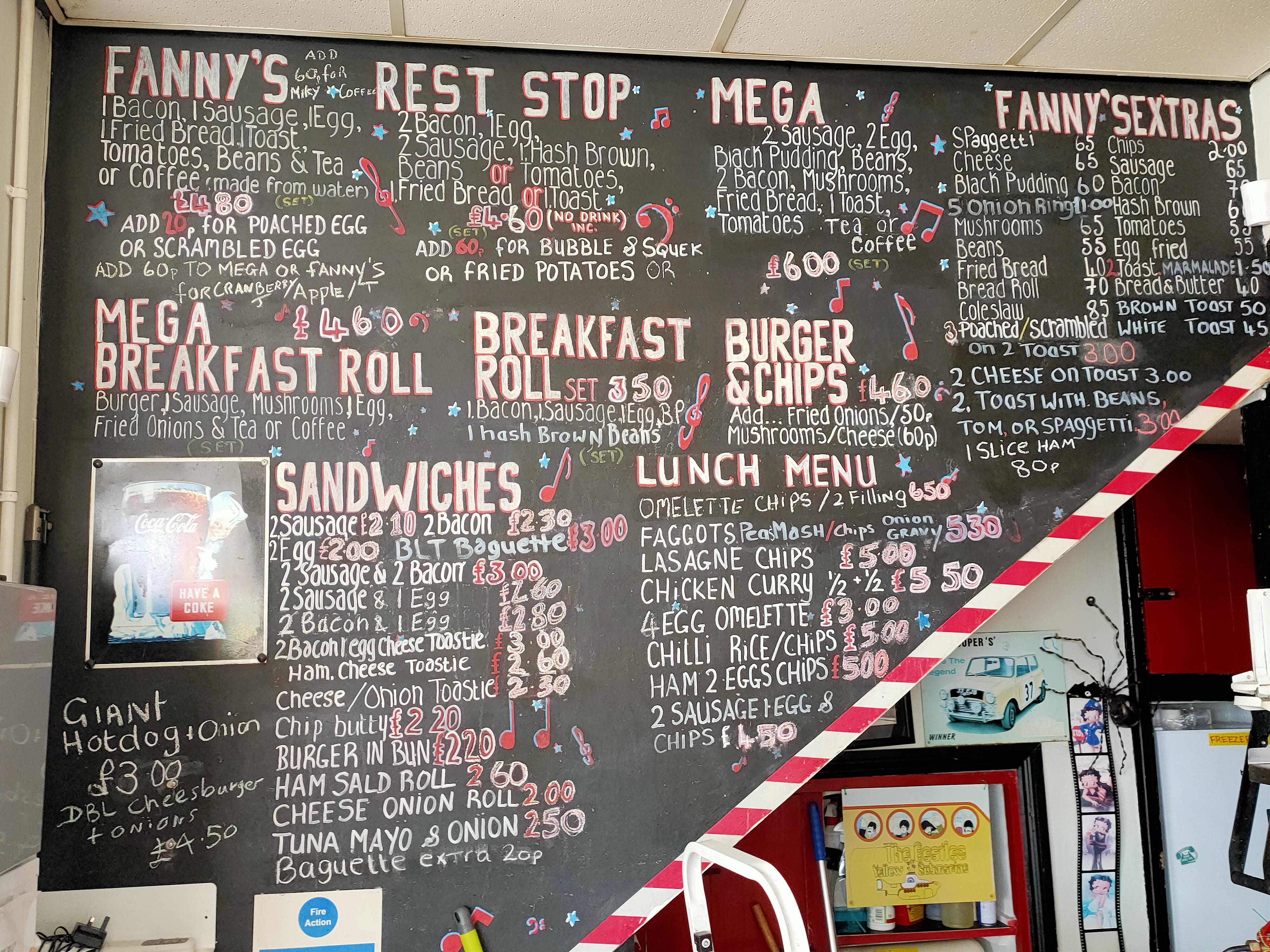 Fannys Cafe menu 2021