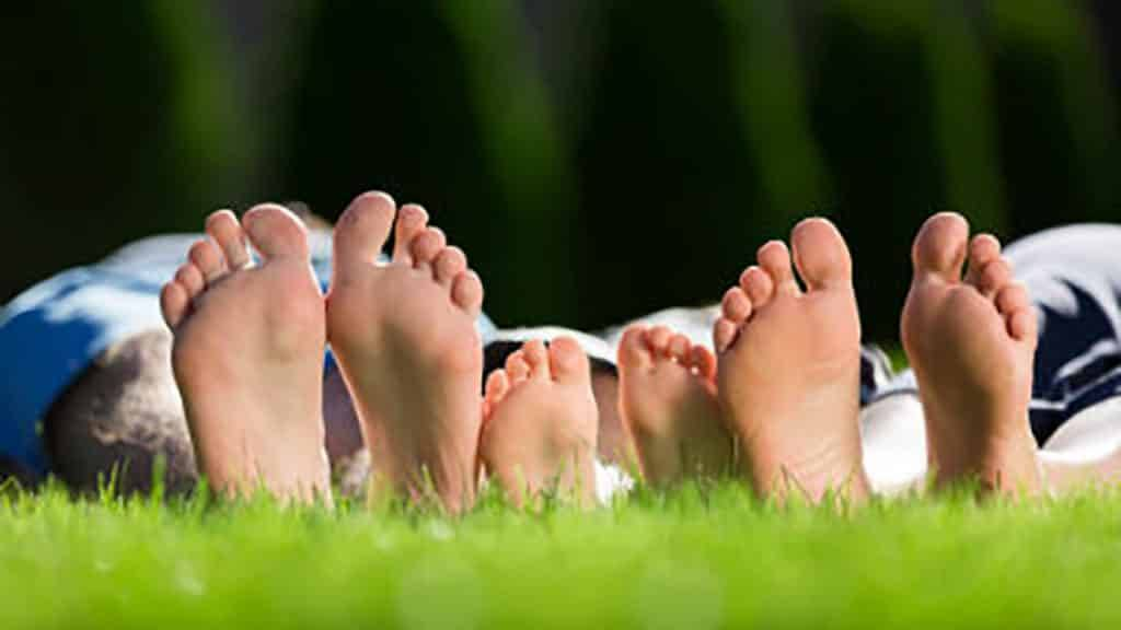 3 pairs of feet in a family