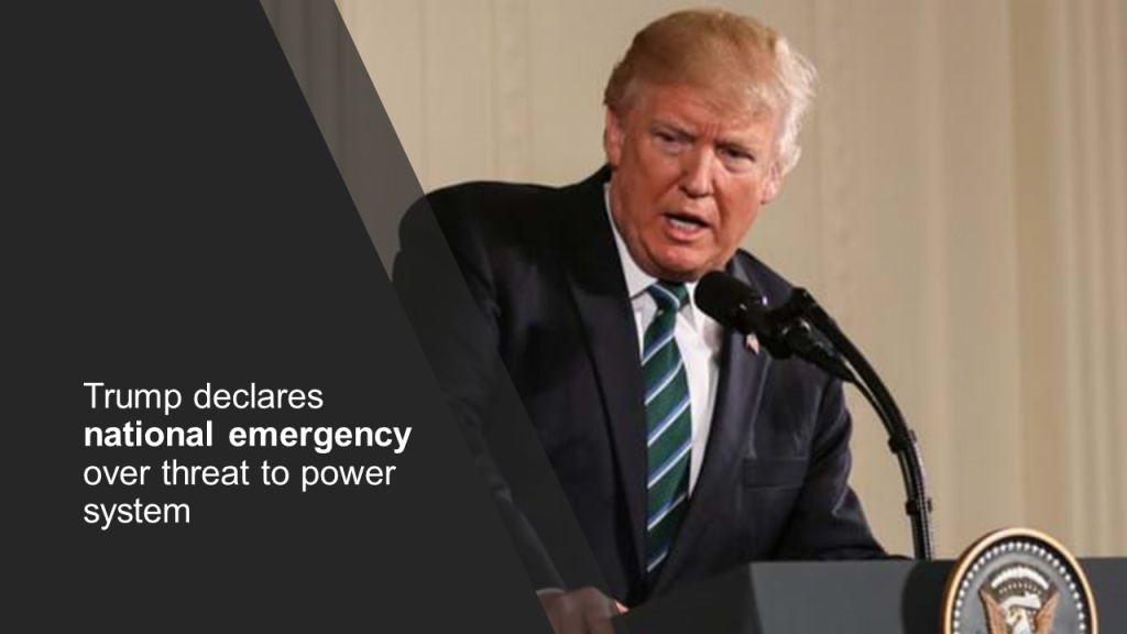 President Trump declares national emergency over threat to power system in United States of America
