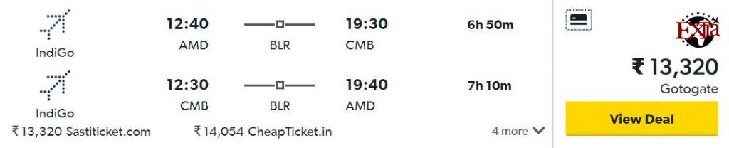Ahmedabad to Colombo