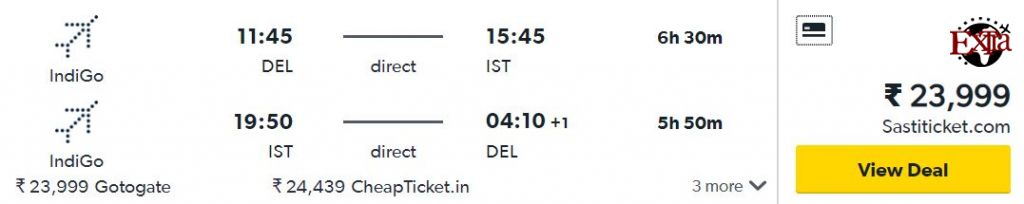 Delhi to Istanbul