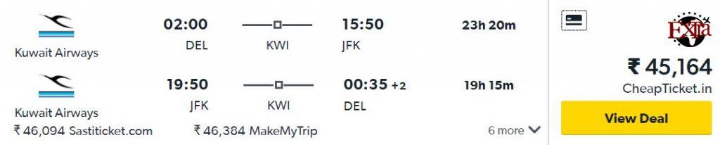 Delhi to New York