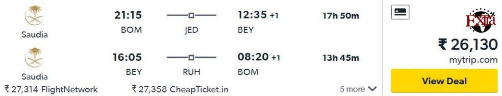 Mumbai to Beirut