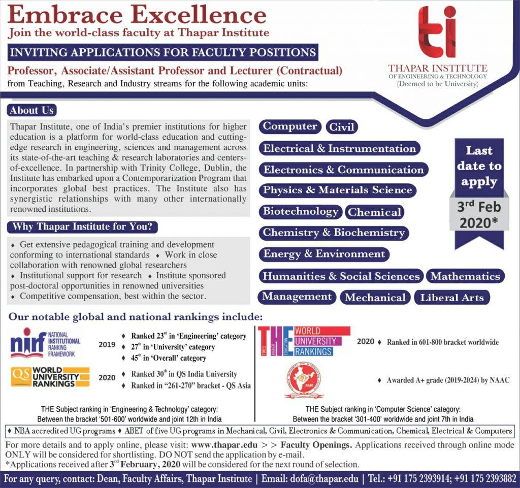thapar university recruitment