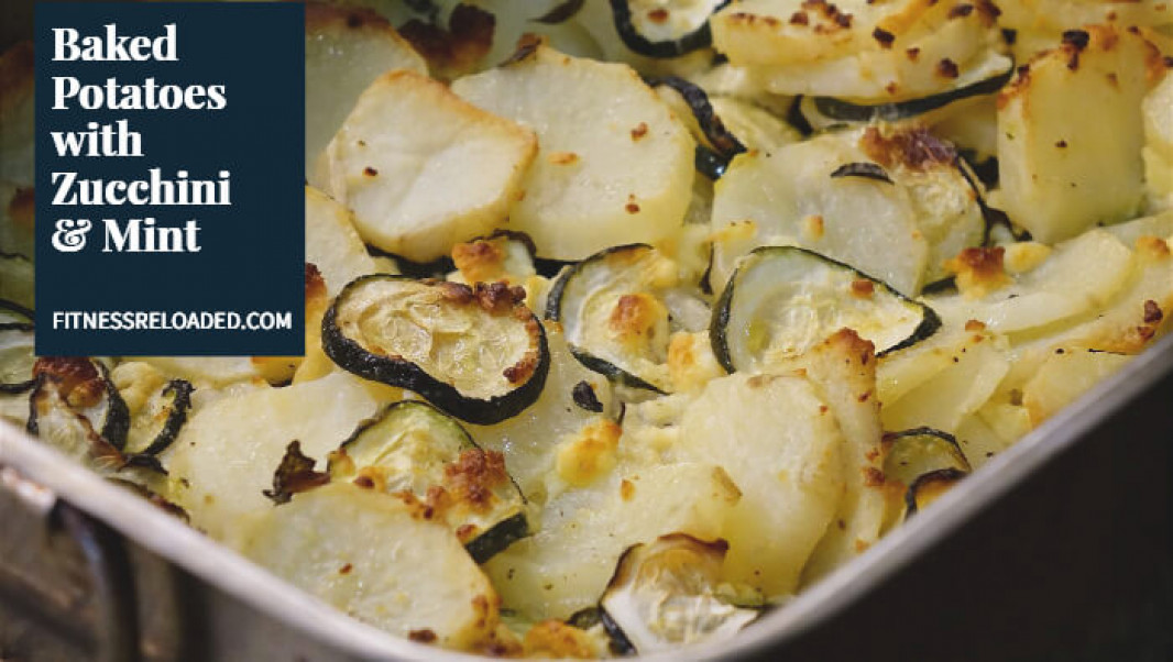 No-Oil Vegan Baked Potatoes with Zucchini & Mint [Cretan Boureki]