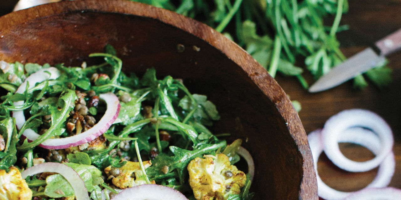 Curried Cauliflower with Lentil Salad