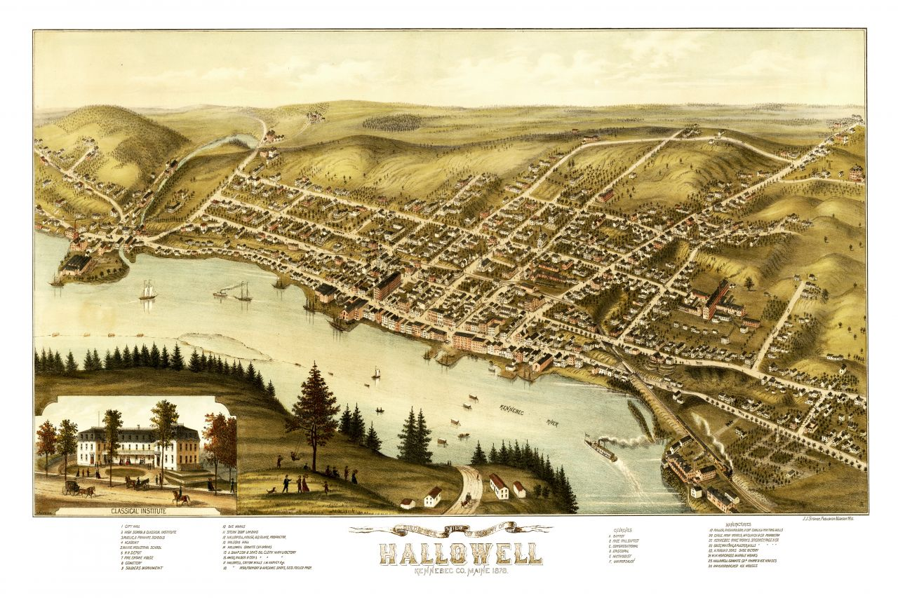 Hallowell Maine Vintage Map
