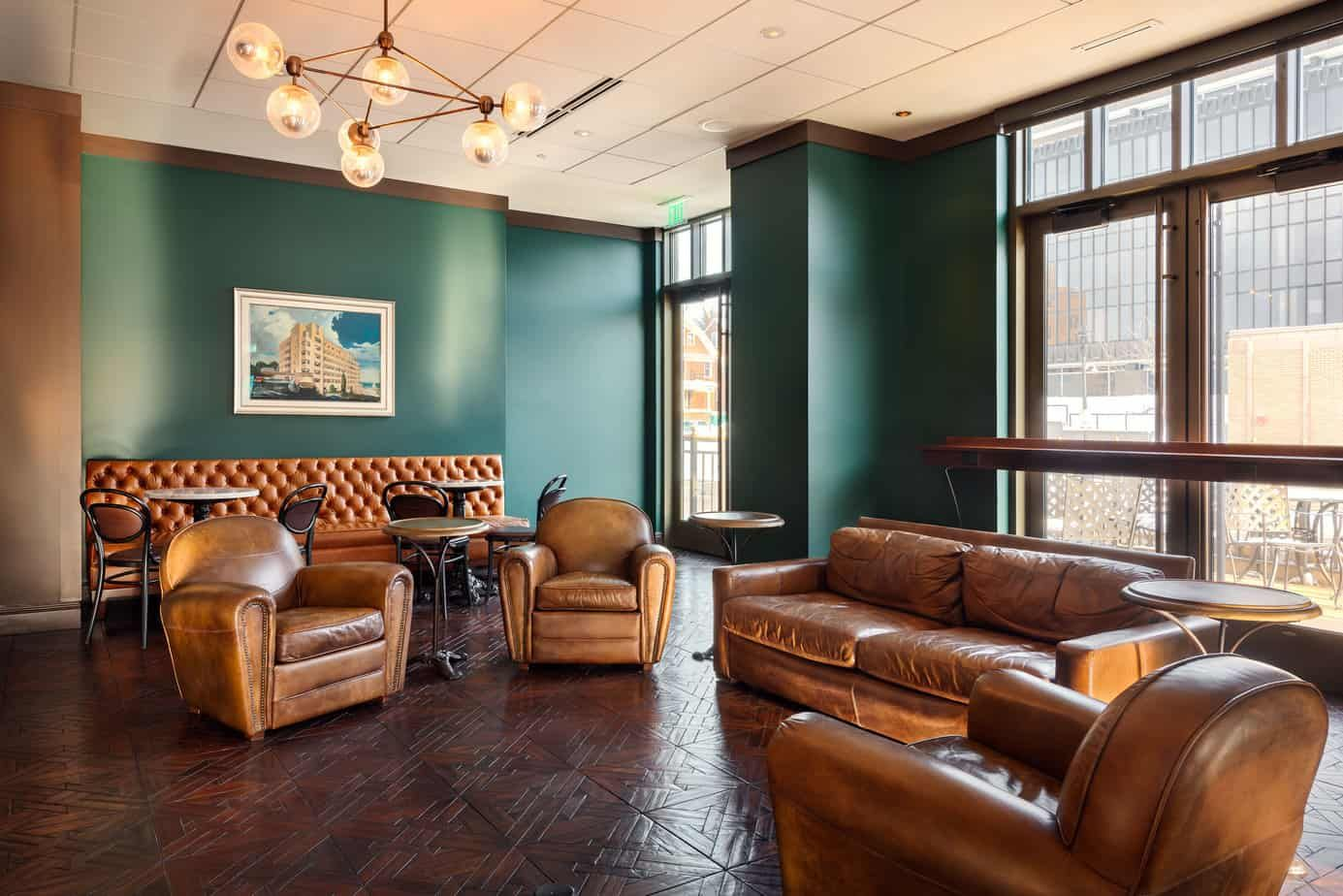 chairs and sofa in hotel cafe