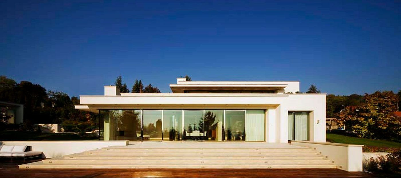 stainless steel sliding doors to a private villa