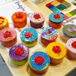Finished Ppttery Trinket Boxes that the girls painted at Crock a Doodle Royal Oak