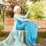 The Ice Queen sitting on a Calgary park bench