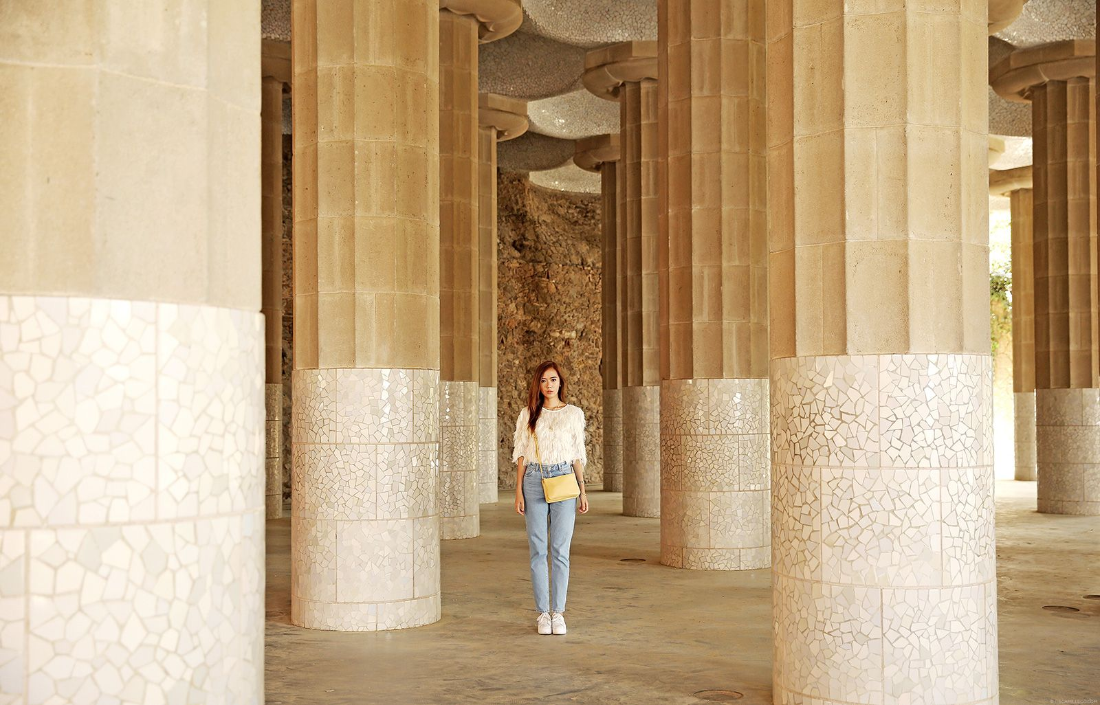 Style Moi Fringe Sweater, Topshop Mom Jeans, No Name Platform Sneakers at Park Güell - www.itscamilleco.com