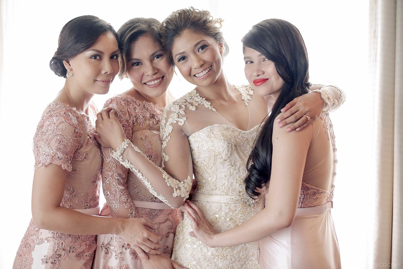 Lace Bridal Gown and Entourage By Camille Co
