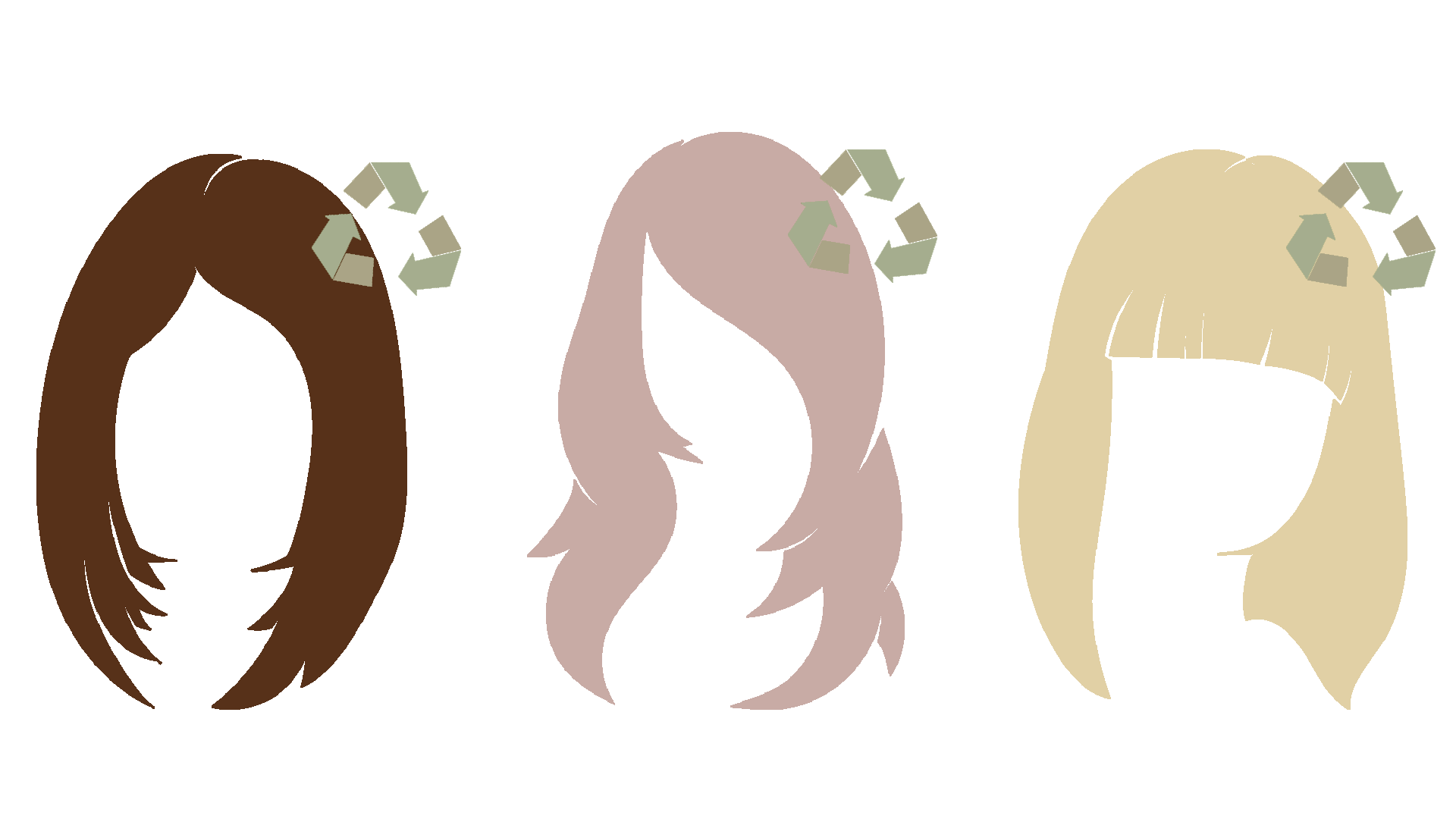 Hairstyle shape drawings for donation and recycling