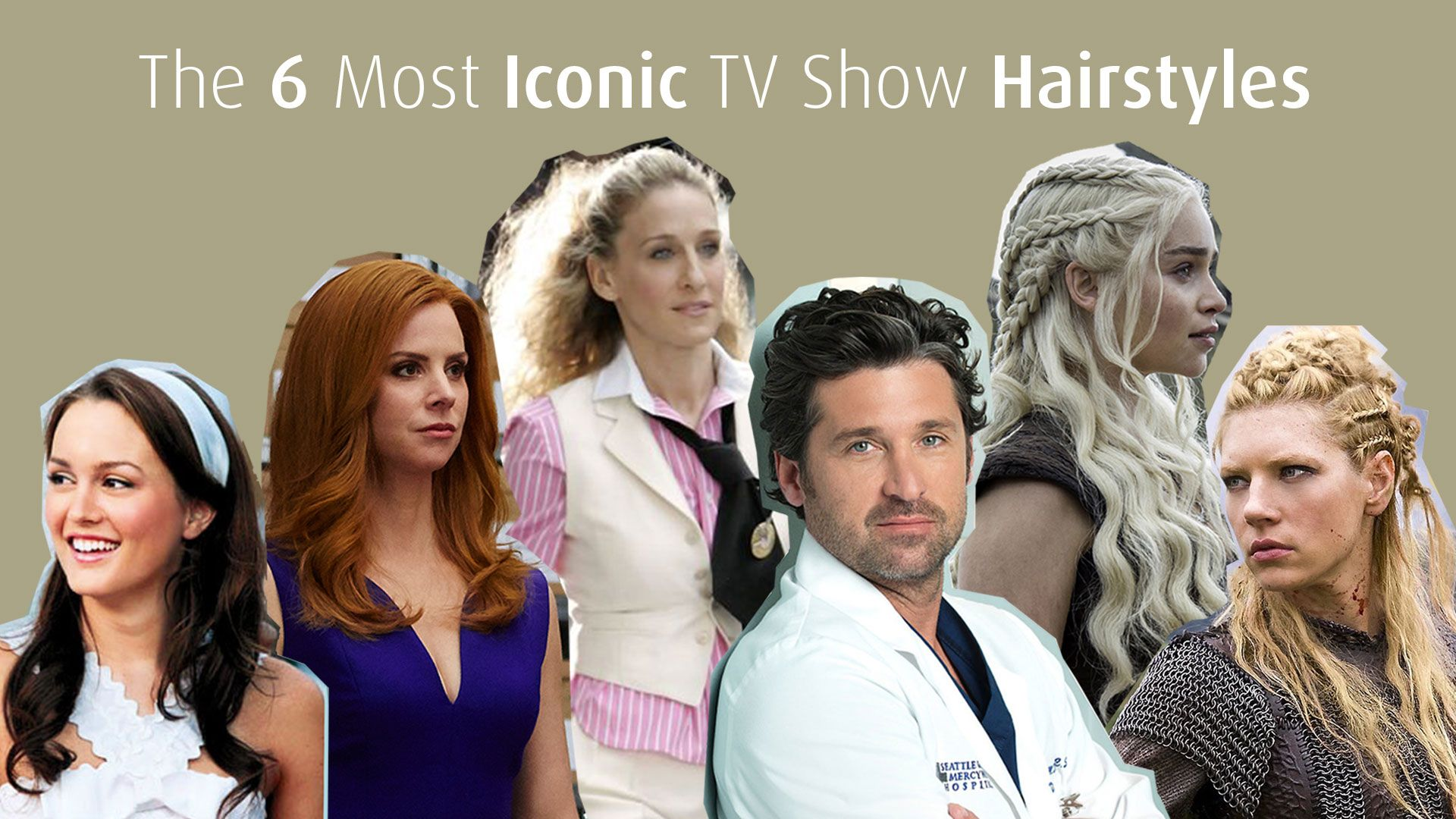 Photoshoot iconic TV show hairstyles - portraits with plain background