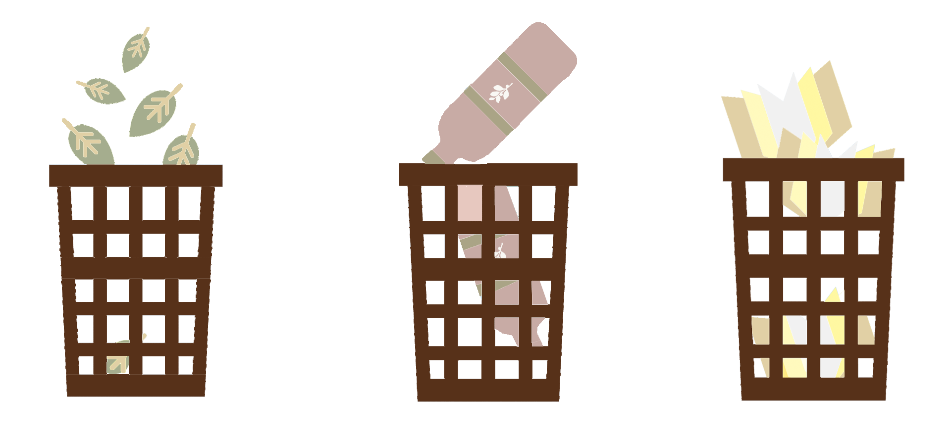 Trash bins with sorted rubbish drawings